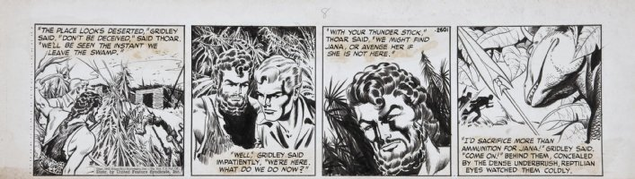 HOGARTH, BURNE ghosting with DAN BARRY - Tarzan daily, dino lost world 1947 Comic Art
