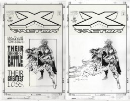 DUURSEMA, JAN - X-Factor #100 cover, 100th issue -  Havok holds dead Madrox - both w/ & w/o overlay Comic Art