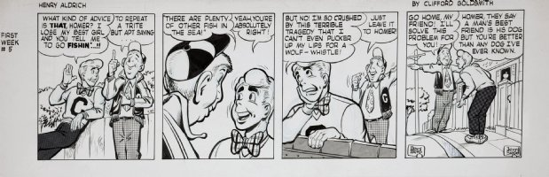 BERG, DAVE / JERRY SIEGEL - Henry Aldrich daily #5 week #1 Comic Art