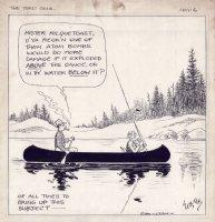 WEBSTER, HAROLD T. - The Timid Soul daily, Casper Milquetoast on boat & Atom Bomb joke, 1945 Comic Art
