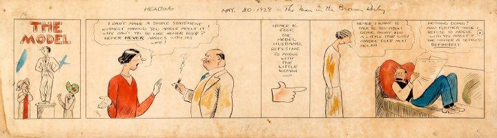 WEBSTER, HAROLD T. - The Model Sunday Topper, husbands quiet - w/ color indicators 5/20 1928 Comic Art