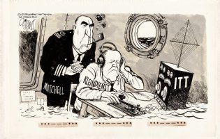 OLIPHANT, PATRICK - Editorial Comic Strip: Nixon & Punk observe AG Mitchell ITT scandal  3/6 1972 Comic Art