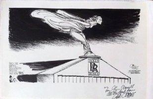 OLIPHANT, PATRICK - Editorial Drawing, British lose Rolls Royce, plus his Penguin - Punk Comic Art