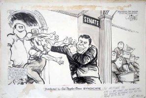 OLIPHANT, PATRICK - Editorial cartoon, Nixon holding off backward Supreme Court noms ahead of Senate, 1970 Comic Art