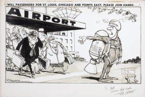 OLIPHANT, PATRICK - Editorial cartoon, Jet pack 1966 Comic Art