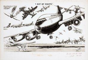 OLIPHANT, PATRICK - Editorial cartoon, airport traffic control 1968 Comic Art
