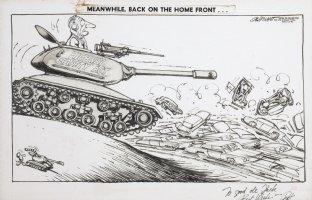 OLIPHANT, PATRICK - Editorial cartoon, LBJ in tank, highway funds 1966 Comic Art