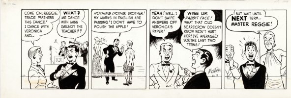 MONTANA, BOB - Archie daily, 1st months of Strip,  Archie in kilt, fights with Reggie at School dance 6/19 1946 Comic Art