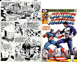 SPRINGER, FRANK / PABLO MARCOS - Captain America #241 pg 22, Cap chases Punisher, 1st Punisher cross-over outside Spider-Man 1980 Comic Art