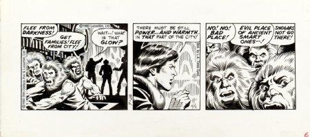 STEVENS, DAVE / RICK HOBERG - Star Wars daily, Boba Fett & Han & Luke  see natives flee, 7/28 1980 Comic Art