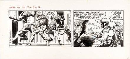 STEVENS, DAVE / RICK HOBERG - Star Wars daily 7/7 1980, Boba Fett & Luke vs primitives Comic Art