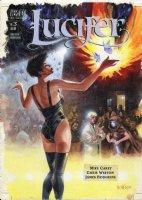 FEGREDO, DUNCAN - Gaiman's Lucifer #3 cover painting, Lucifer, Mazikeen, Jill Presto. Logo on overlay Comic Art