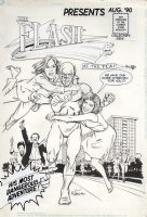TORRES, ANGELO - Flash #1 CBS cover - Flash vs reviewers 1990 Comic Art
