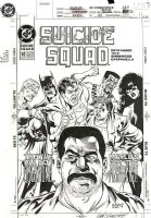 ISHERWOOD, GEOF - Suicide Squad #61 cover, JLA confront Squard Comic Art