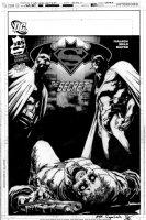 SEPULVEDA, MIGUEL - Superman/Batman #85 cover, final Bat & Supes art with the horrific, DC censored victim art Comic Art