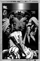 SEPULVEDA, MIGUEL - Superman/Batman #85 cover, final Bat & Supes art with the final, published version of corpse on overlay Comic Art