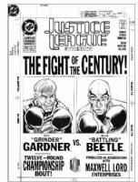 HUGHES, ADAM - Justice League of America #52 cover, large size, fight-poster style. Blue Beetle vs Guy Gardner Comic Art