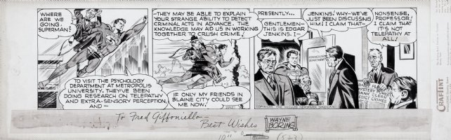 BORING, WAYNE - Superman daily 2/2 1948 (drawn 1947) Superman in all 3 panels Comic Art