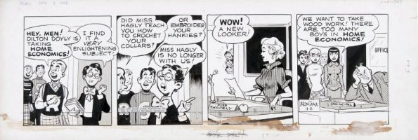 MONTANA, BOB - Archie daily 11/8 1948, Archie, Jughead, Dilton, Betty, Veronica and Miss Shapely, Good-Girl-Art Comic Art