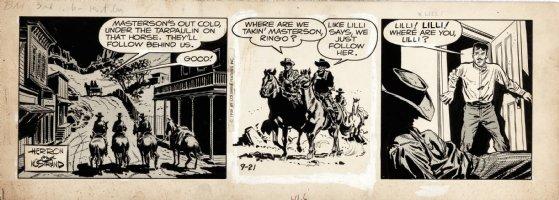 ADAMS, NEAL / HOWARD NOSTRAND - Bat Masterson daily 9/21 1959  Men on horses follow Bat through town Comic Art