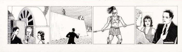 WOLVERTON , BASIL- Ethan Downing tryout daily, Basil's 2nd SF / Fantasy comic strip set in sub-atomic world - wordless 1930s Comic Art