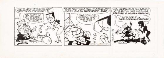 KILGORE, AL Bullwinkle Daily 10/15 1962, Uncle Sam Boris & Natasha to cut-off head of drugged Bullwinkle Comic Art