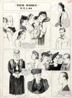 Hill, W.E. - Among Us Mortals Sunday 4/2 1942 WW2 era -  Club Women  females featured Comic Art