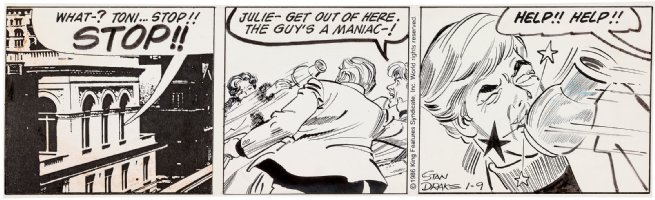 DRAKE, Stan - Juliet Jones daily 1/9 1986 fight scene Comic Art