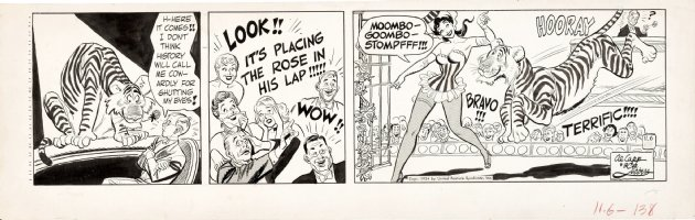 LUBBERS, BOB / AL CAPP - Long Sam daily, Long Sam on stage with tiger 11/6 1954 Comic Art