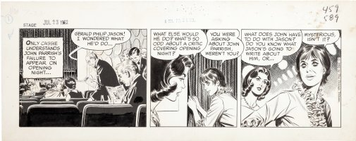 STARR, LEONARD - Mary Perkins, On Stage daily 7/23 1962 Mary & Cassie discuss critic inside theatre Comic Art