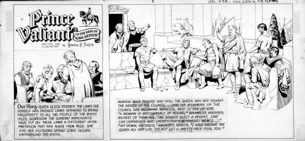 FOSTER, HAL - Prince Valiant, top tier Sunday 5/12 1968, Trouble in the IIses, Queen Aleta & councilers Comic Art