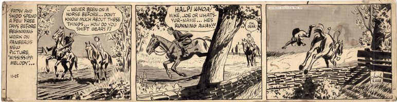 SICKLES, NOEL / RAAB - Adventures of Patsy daily, craft-tint board, horse back action & Sickles TM intro-text, great backgrounds 11/25 1942? Comic Art