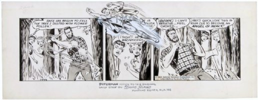 BORING, WAYNE - Superman daily #7999 1964, lumberjack Clark, 2 Lois Lane's, Superman drawn-in Comic Art