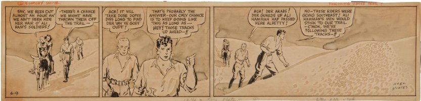 SICKLES, NOEL - Scorchy Smith daily 6/9 1936, in tones!  Scorchy, mates in the desert Comic Art
