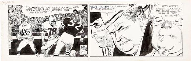 ADAMS, NEAL / DRAKE Studio - Juliet Jones daily, 2 panel Football (Joe Namath) story, 11/11 1967 Comic Art