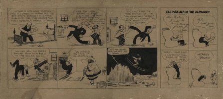 GOLDBERG, RUBE - Old Man Alf double daily 1915? autographed in 1916 Comic Art