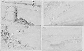 MOEBIUS aka JEAN GIRAUD - Lil Nemo film, set of 4 storyboards Comic Art