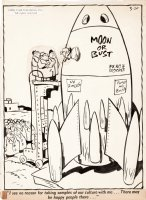 LICHTY, GEORGE - Grin and Bear It daily 1955, Moon race rocket Comic Art
