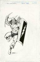 PEREZ, GEORGE - X-Men Pinup, villain Akron - Marvel Universe #1 1985 Comic Art