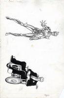 MIGNOLA, MIKE - Alpha Flight Team - Omega Flight MU Pinups, 2 on 1 board - team-leader Jerome Jaxon &  female robot - Delphine Courtney Comic Art
