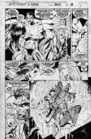 MADUREIRA, JOE / TOWNESEND inks - Uncanny X-Men #325 giant Issue pg 19, Wolverine, Storm, Colossus & Callisto - X-Men threatened w/lettering Comic Art