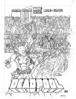 DARROW, GEOF - Deadpool #4 2up pencil cover - writer Brian Posehn' Deadpool -boxing, huge crowd Comic Art
