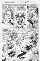 BYRNE, JOHN / WALT SIMONSON signed - X-Factor Annual splashy pg 23, swordplay 1989 Comic Art