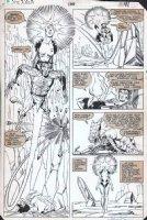 SMITH, PAUL - Uncanny X-Men #166 half splash pg, Wolverine & Binary / Carol Danvers, Brood Queen Comic Art