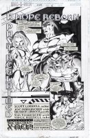 MADUREIRA, JOE / inks by TOWNESEND only - Uncanny X-Men #338 pg 5, Semi-Splash, Wolverine, Quicksilver, Storm, Beast with title overlay Comic Art