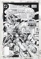 HANNIGAN, ED - World's Finest #309 cover, Batman and Superman take a beating from...Quantum! Comic Art