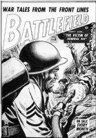 HEATH, RUSS - Battlefield #6 cover, Pre-code, death by flame-thrower Comic Art