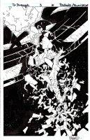 BACHALO & TIM TOWNSEND - Dr Strange #3 Splash, a bare Doc Strange crashes through Sanctum Santorum Comic Art