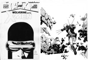 BACHALO, CHRIS / TOWNSEND - Wolverine & X-Men#10 cover, Cyclops with full, seperate CB Wolvie art used in visor Comic Art
