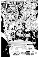 BACHALO & TIM TOWNSEND - Uncanny X-Men #29 cover, hand-drawn logo & 35 characters- Last Will of Prof X Comic Art
